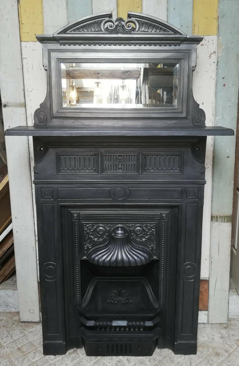 FC0049 CARRON FOUNDRY VICTORIAN CAST IRON COMBINATION FIRE WITH MIRROR