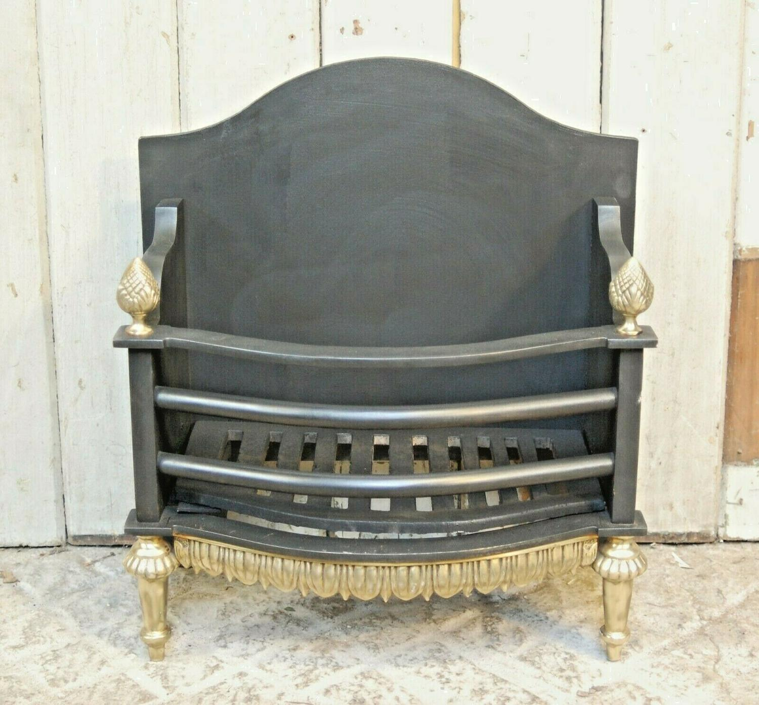 FB0038 RECLAIMED REPRODUCTION CAST IRON AND BRASS FIRE REGISTER BASKET
