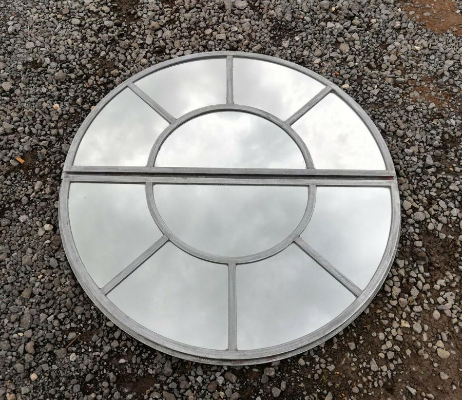 M1279 ANTIQUE CAST IRON CIRCULAR WINDOW MIRROR - CAN BE SPLIT IN TWO