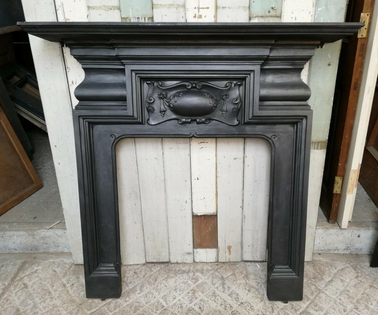 FS0070 ELEGANT LARGE VICTORIAN CAST IRON FIRE SURROUND FOR WOODBURNER