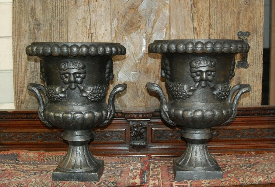 M1280 PAIR OF RECLAIMED MODERN CAST IRON URNS FOR INDOOR USE