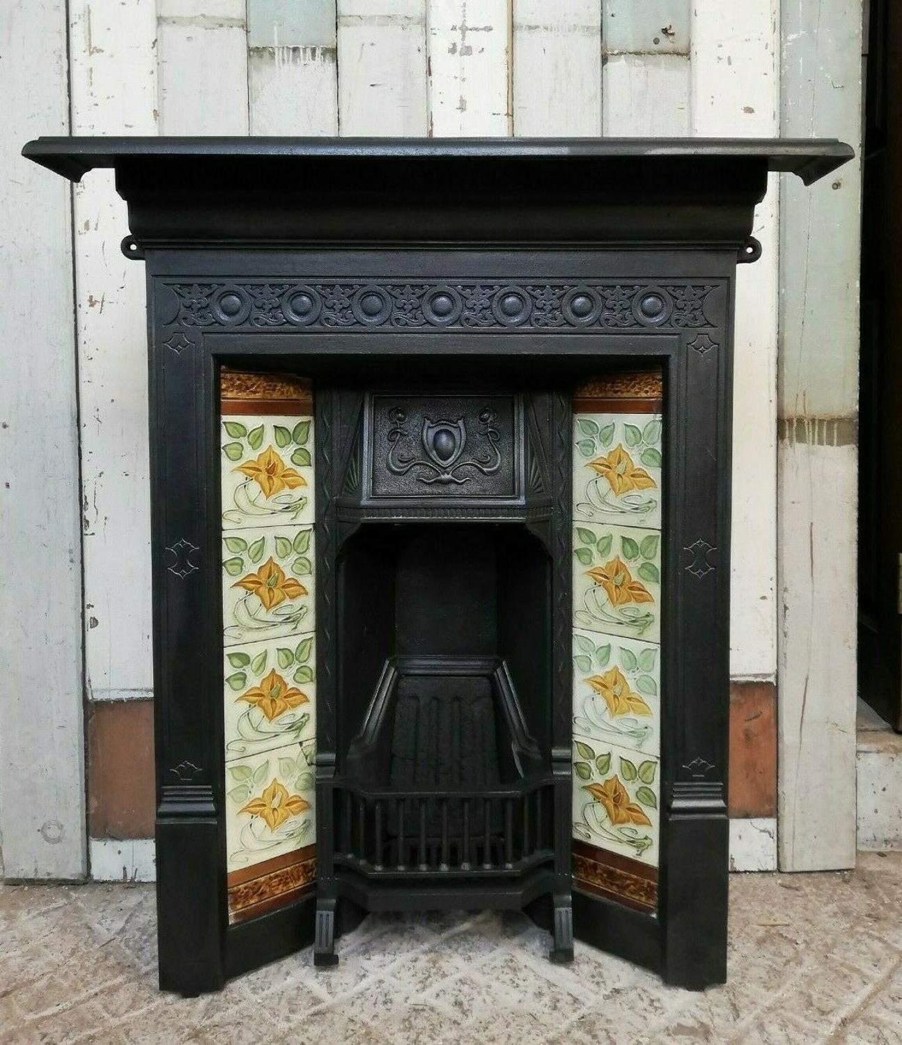 FC0052 AN ATTRACTIVE ART NOUVEAU TILED CAST IRON COMBINATION FIRE