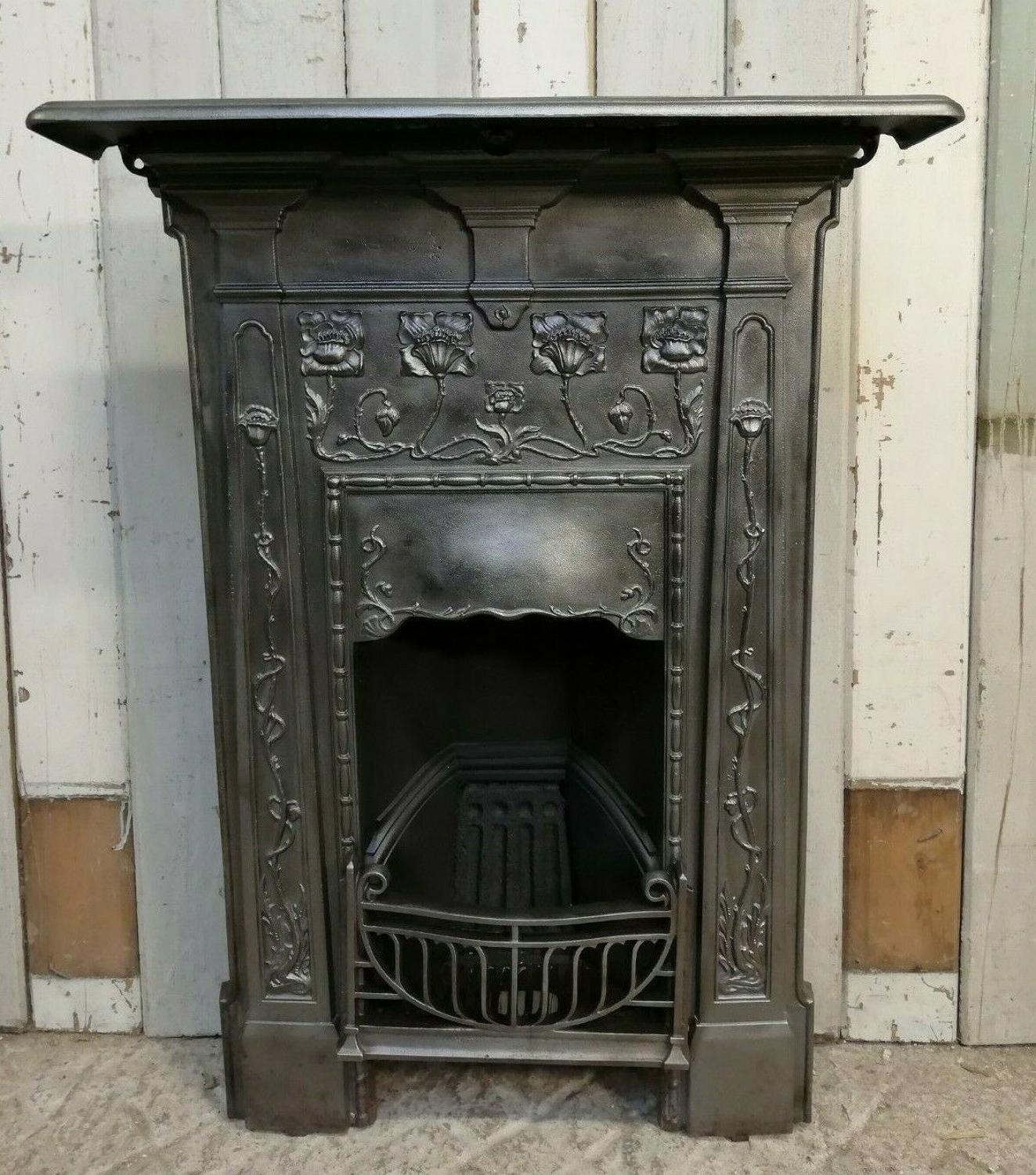FC0053 ATTRACTIVE ART NOUVEAU CAST IRON COMBINATION BEDROOM FIRE