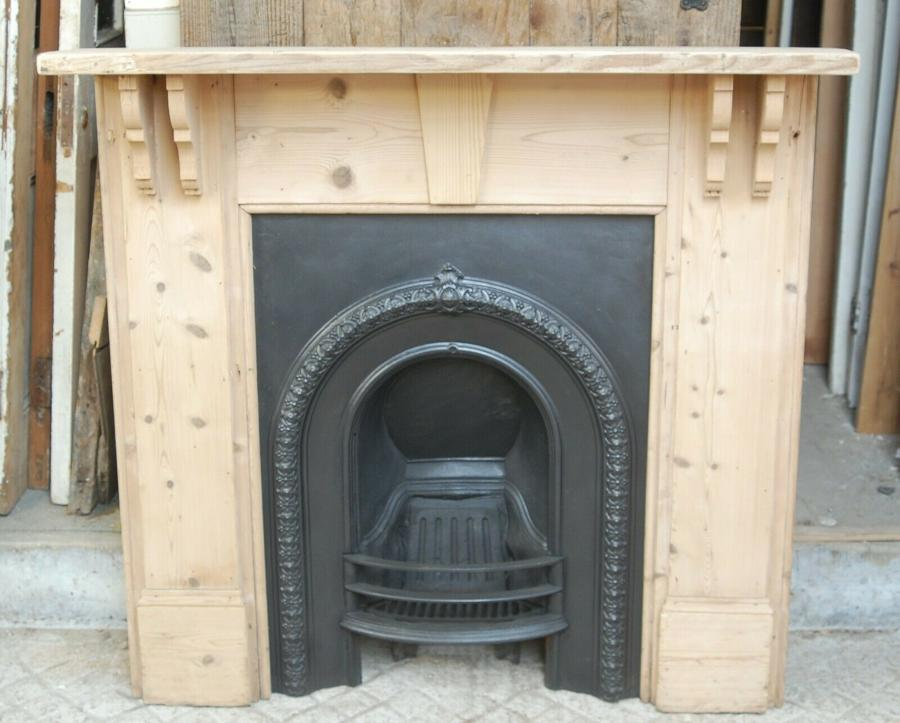 FC0055 VICTORIAN CAST IRON FIRE INSERT / RECLAIMED PINE FIRE SURROUND
