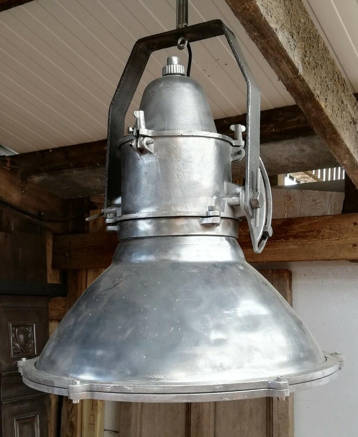 M1288 LARGE INDUSTRIAL ALUMINIUM CEILING LIGHT - 2 AVAILABLE SOLD SEP