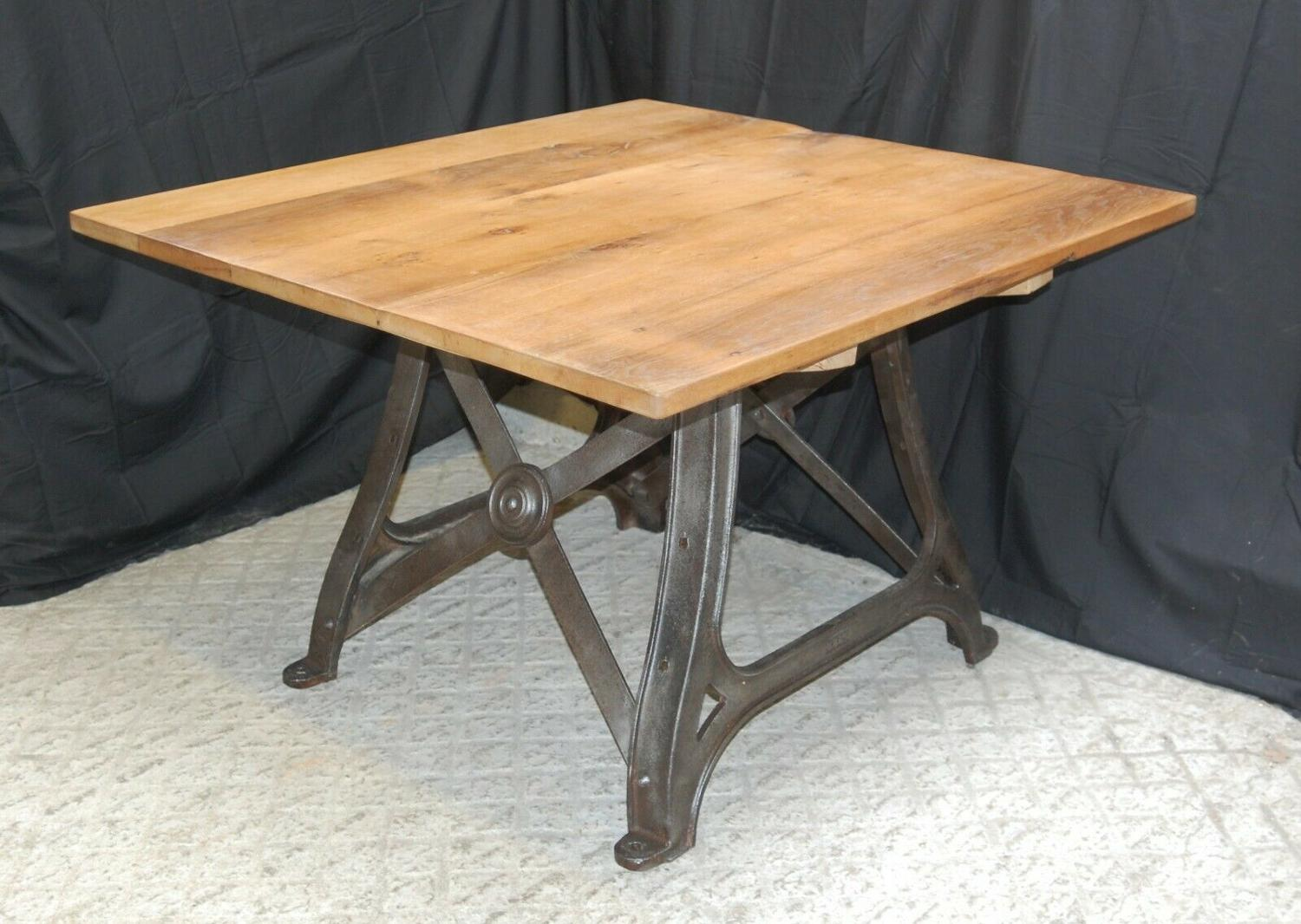 M1289 FANTASTIC DINING TABLE RECLAIMED OAK TOP & CAST IRON BASE