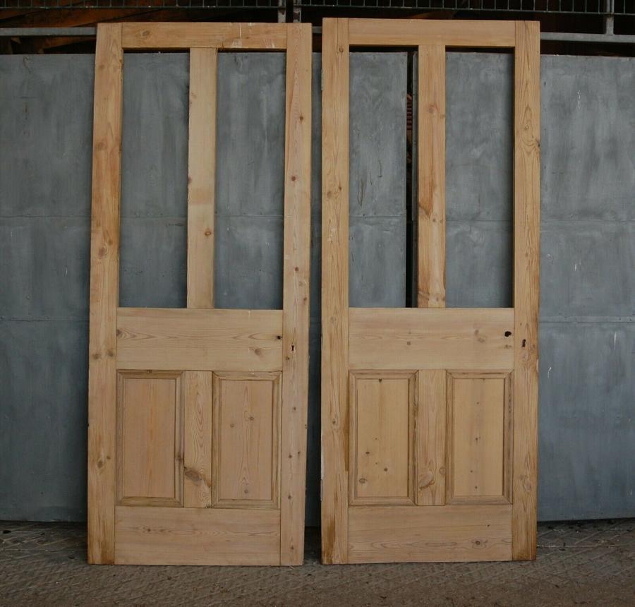 DP0267 TWO MATCHING RECLAIMED VICTORIAN FOUR PANEL PINE INTERNAL DOORS