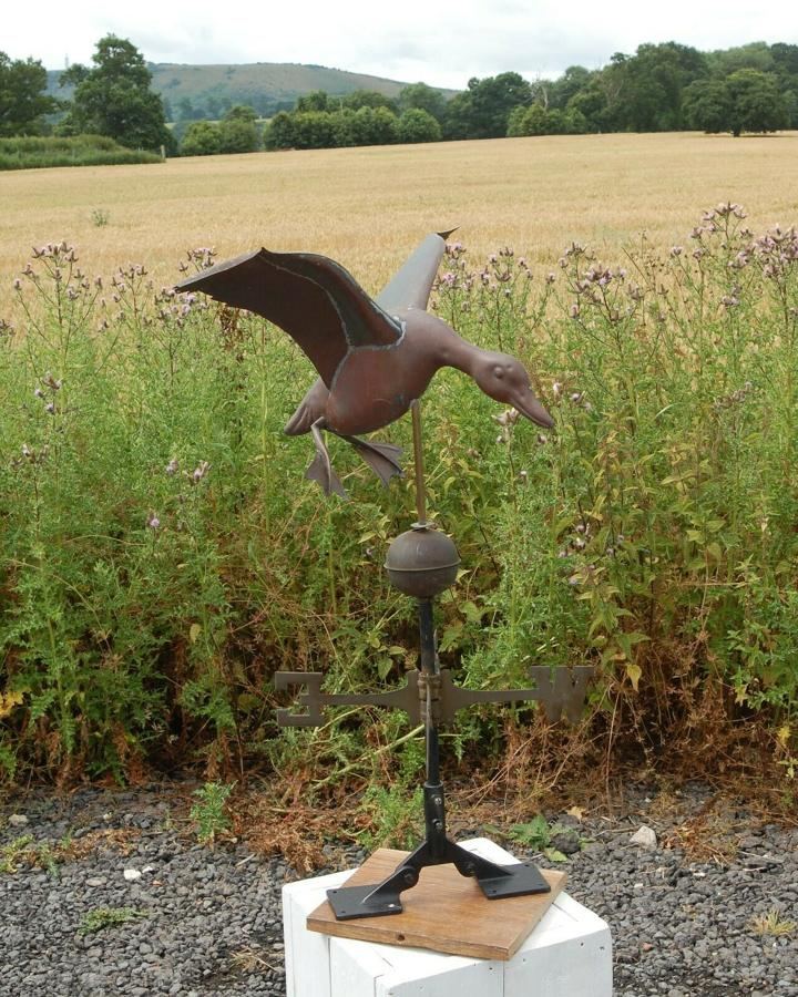 M1295 A VERY ATTRACTIVE RECLAIMED METAL WEATHERVANE WITH FLYING DUCK