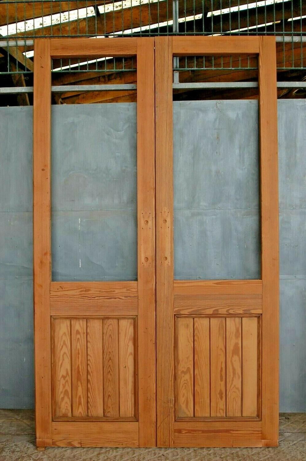 DP0269 PAIR OF RECLAIMED STRIPPED PITCH PINE INTERNAL DOORS