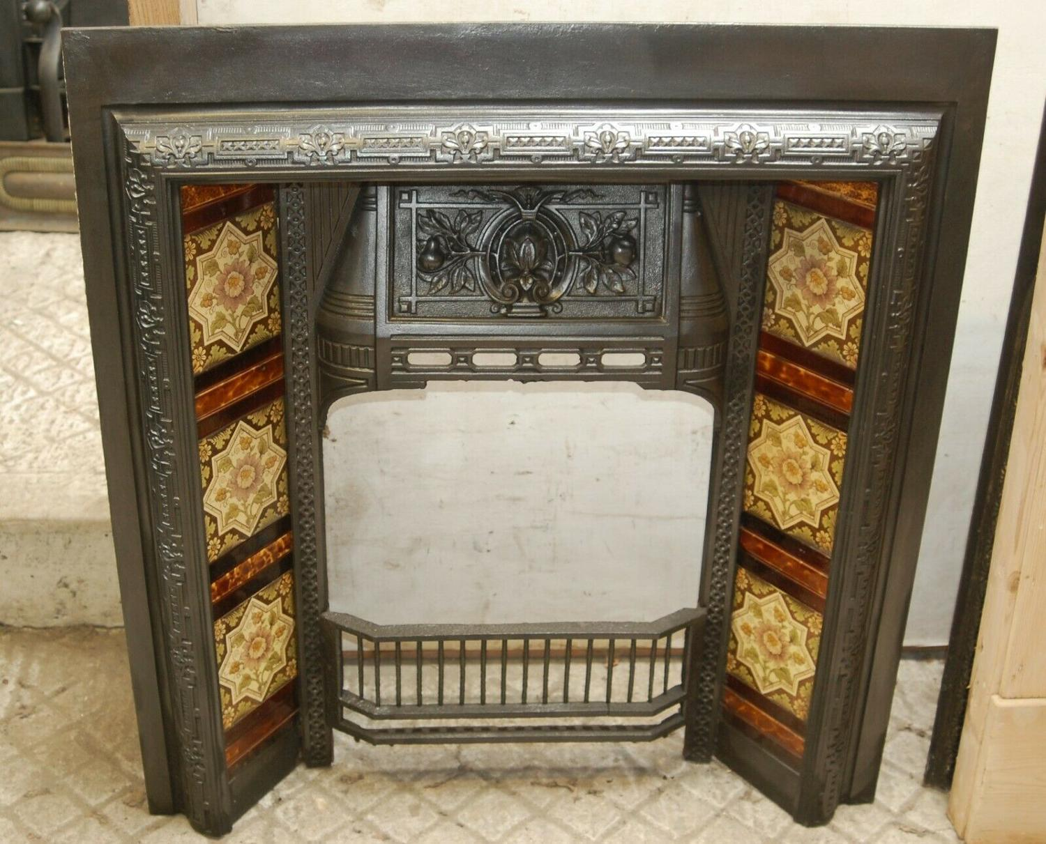 FI0034 VICTORIAN TILED CAST IRON FIRE INSERT