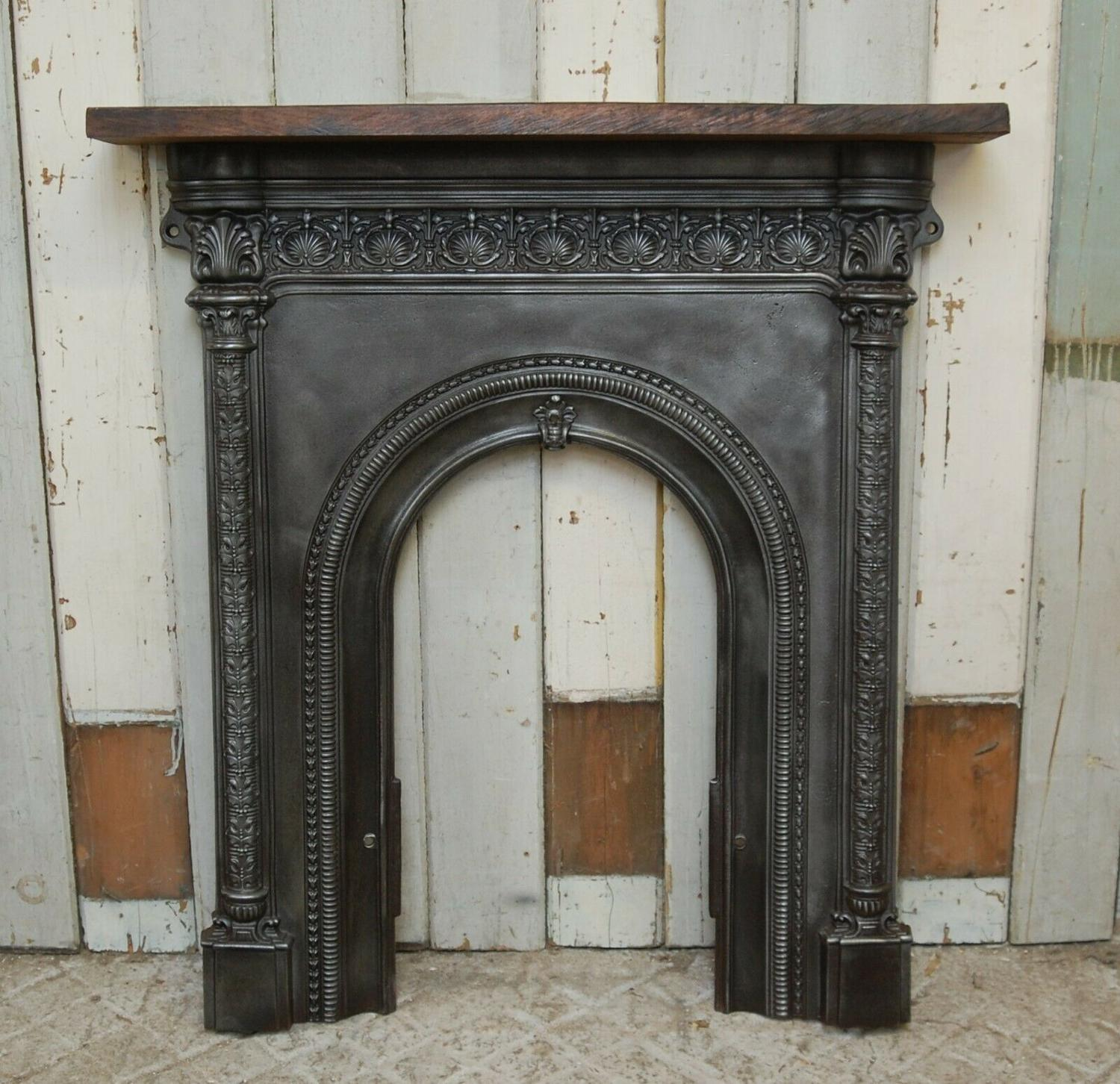 FS0074 PRETTY VICTORIAN CAST IRON FIRE SURROUND WITH OAK MANTEL