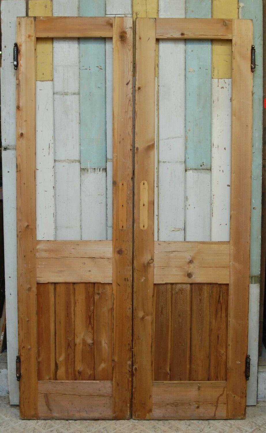 DP0272 PAIR OF RECLAIMED STRIPPED PINE INTERNAL DOORS FOR GLAZING