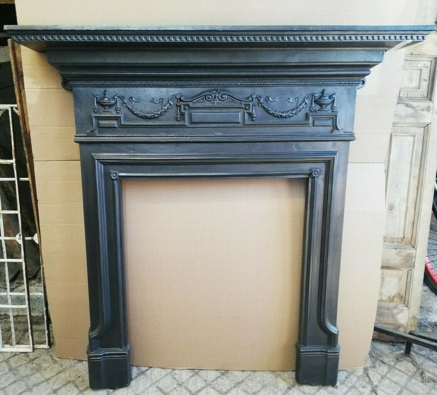 FS0079 ELEGANT VICTORIAN CAST IRON FIRE SURROUND FOR WOOD BURNER