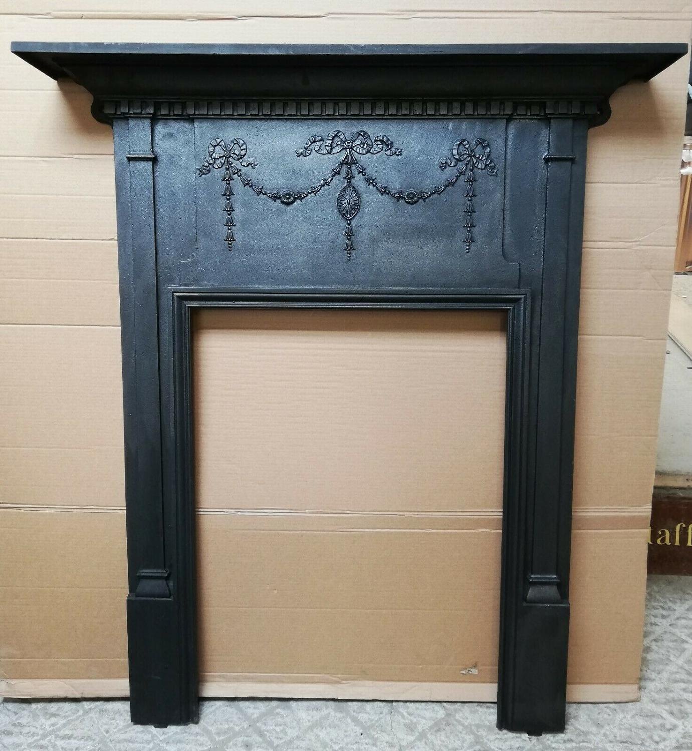 FS0080 VICTORIAN CAST IRON FIRE SURROUND FOR WOOD BURNER