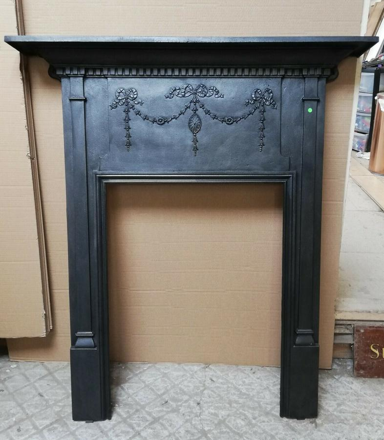 FS0081 VICTORIAN CAST IRON FIRE SURROUND FOR WOOD BURNER