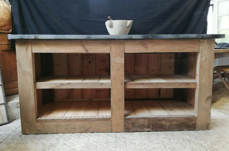 M1313 A UNIQUE RECLAIMED OAK AND SLATE TOPPED RUSTIC KITCHEN ISLAND