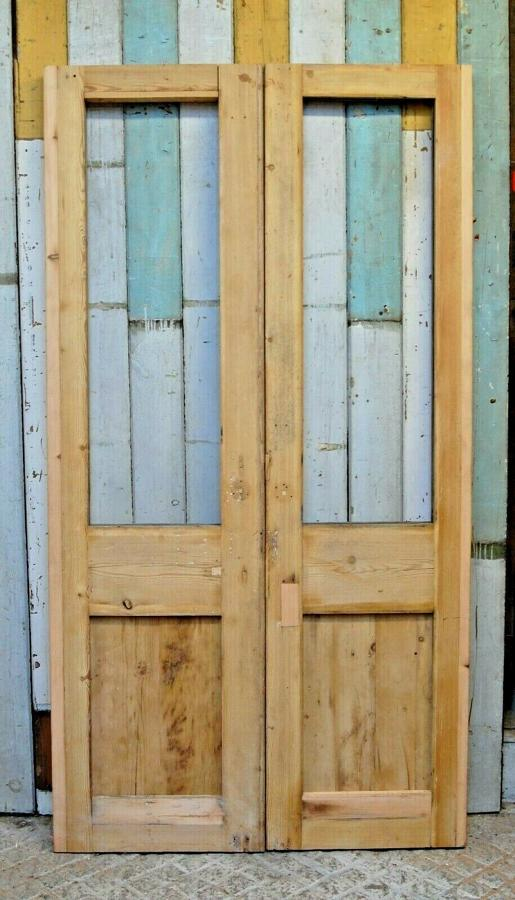 DP0273 PAIR OF RECLAIMED SLIM STRIPPED PINE INTERNAL DOORS FOR GLAZING