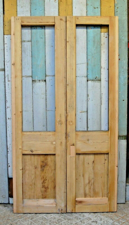 DP0273 PAIR OF RECLAIMED SLIM STRIPPED PINE INTERNAL DOORS FOR GLAZING