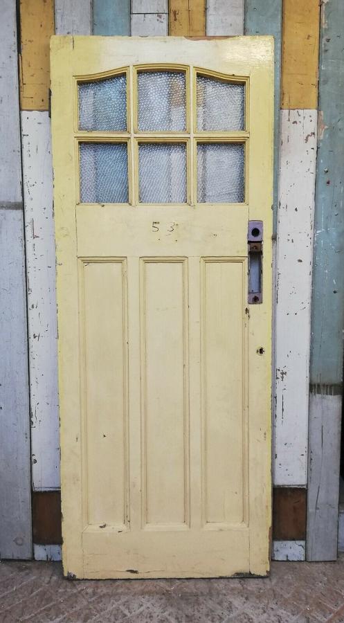 DE0425 EDWARDIAN PINE FRONT DOOR WITH TEXTURED GLASS PANELS