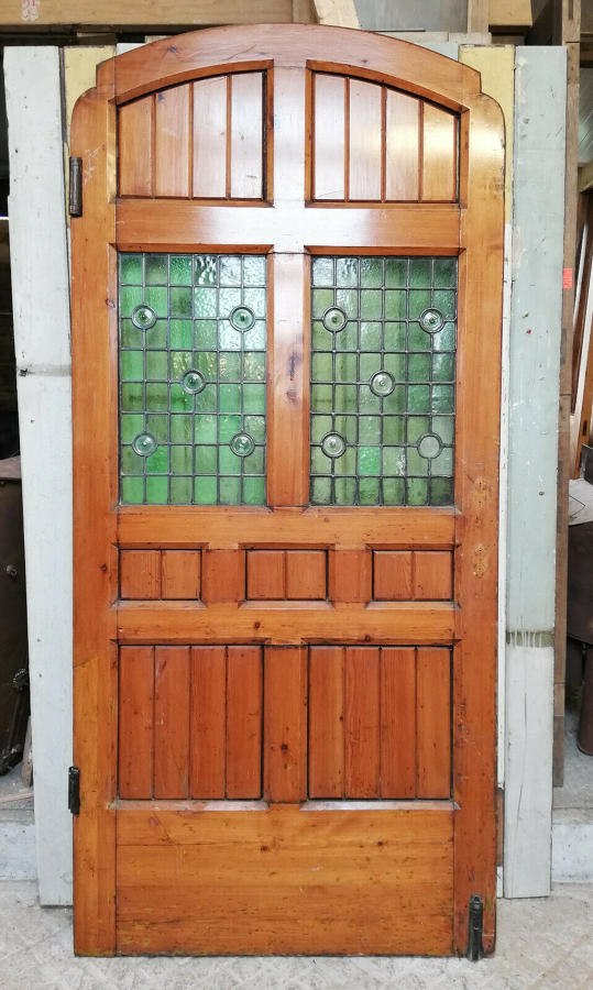 DB0664 ATTRACTIVE 1920'S PINE STAINED GLASS EXTERNAL / INTERNAL DOOR