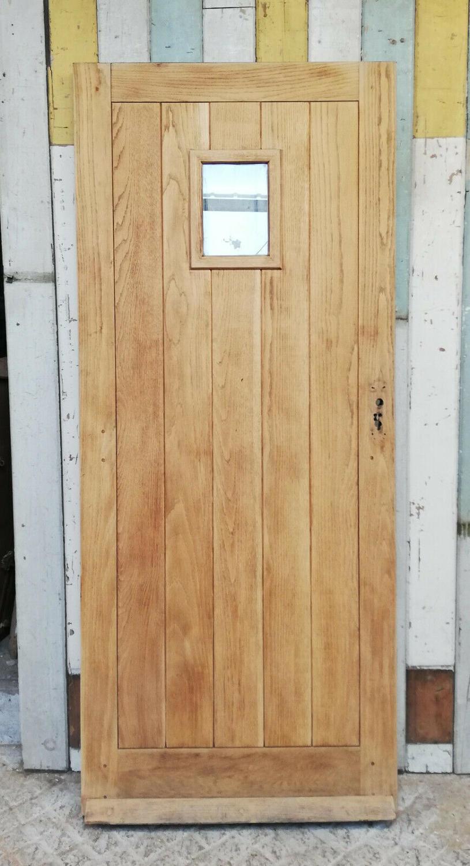 DE0815  MODERN RECLAIMED BARE OAK FRONT DOOR WITH GLAZED PANEL