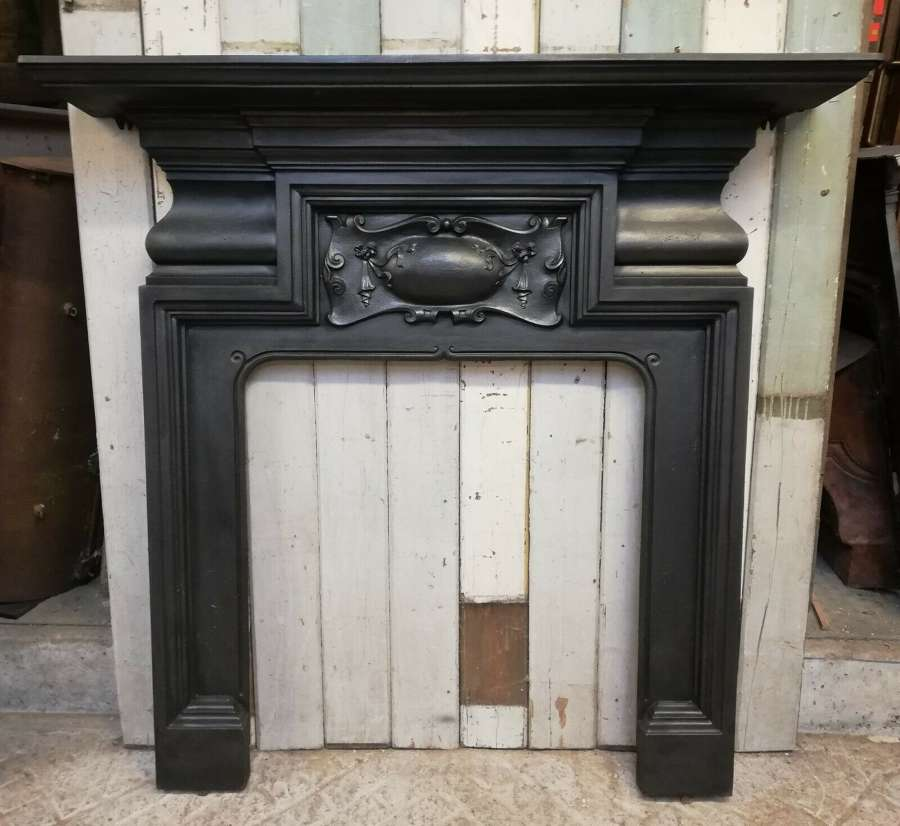 FS0084 ELEGANT LARGE VICTORIAN CAST IRON FIRE SURROUND FOR WOODBURNER