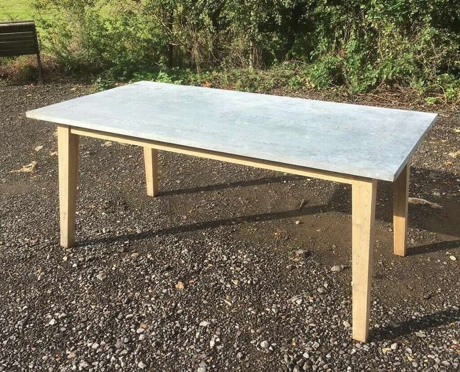 M1317 RECLAIMED INDUSTRIAL STYLE LOAF ZINC TOPPED 6 SEATER TABLE