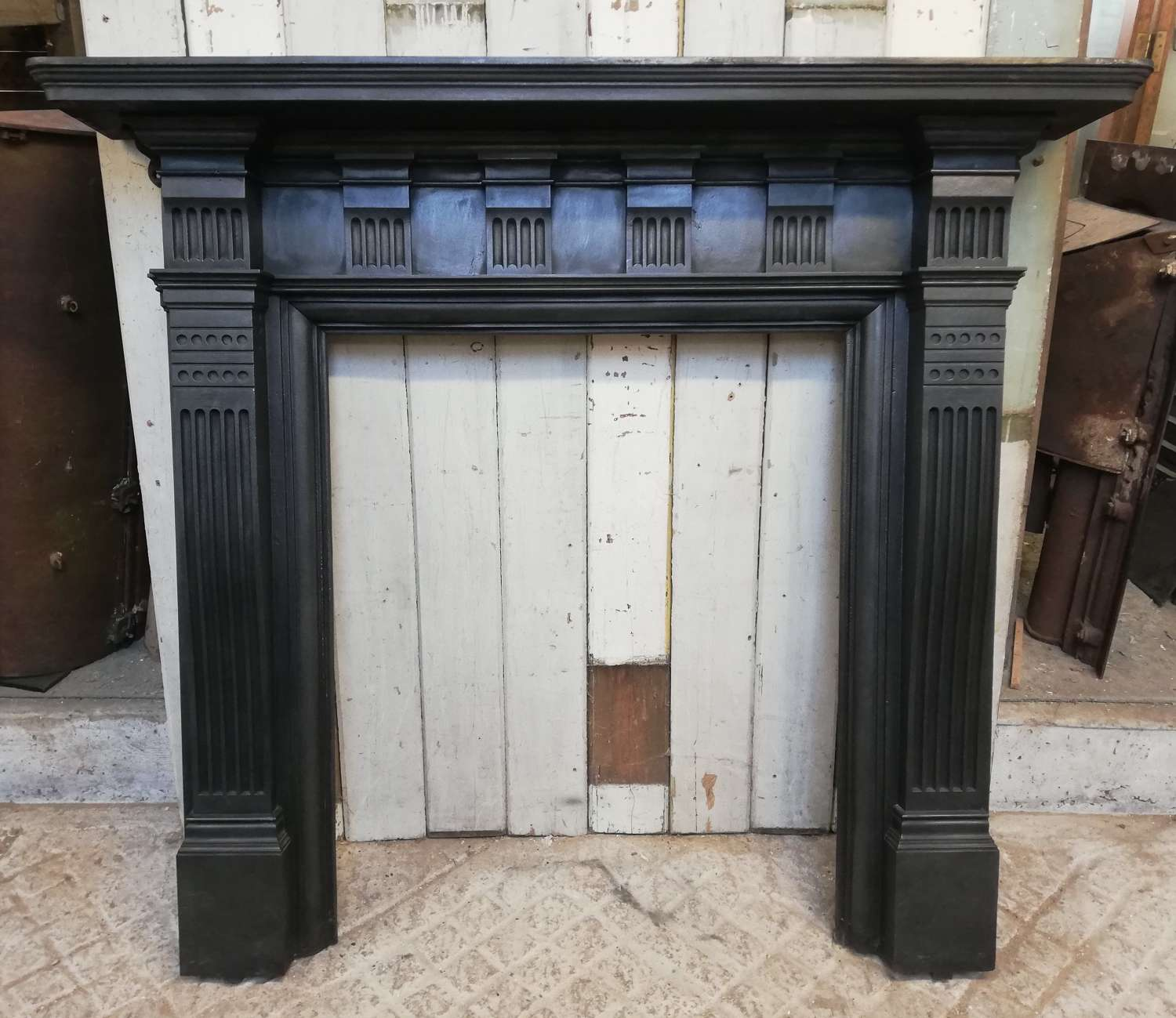 FS0087 VICTORIAN CAST IRON FALKIRK FIRE SURROUND FOR LOG BURNER