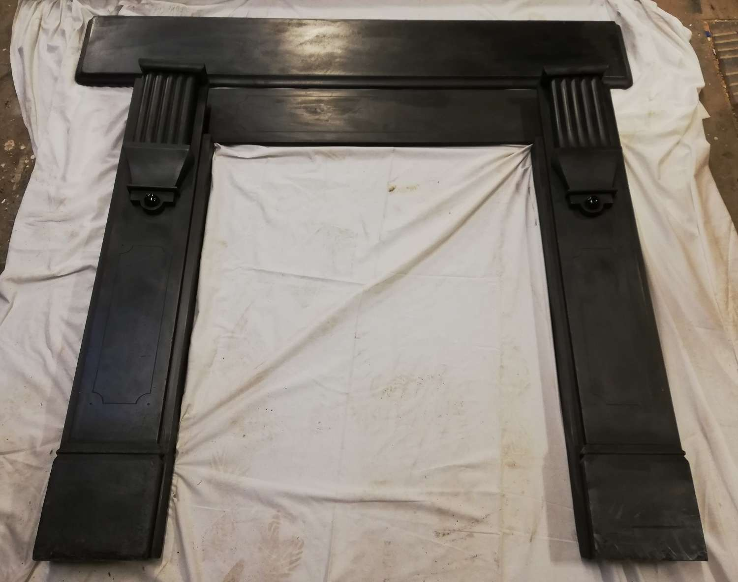 FS0089 AN ANTIQUE RECLAIMED SLATE FIRE SURROUND FOR LOG BURNER/BASKET