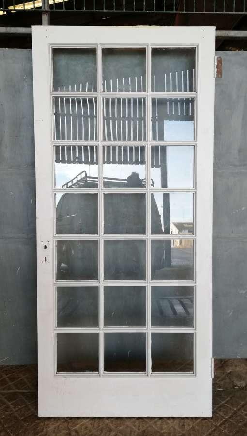 DI0696 AN INTERNAL RECLAIMED GLAZED PAINTED PINE DOOR