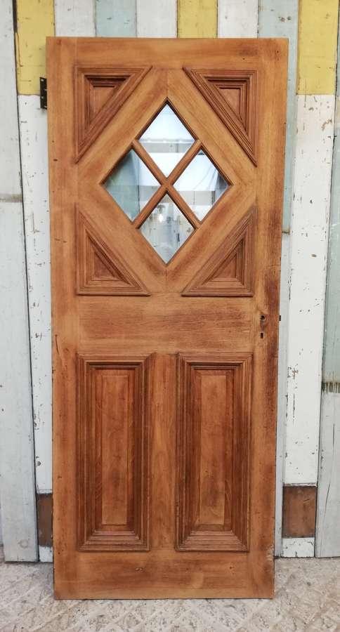 DE0822 AN ART DECO HARDWOOD / TEAK FRONT DOOR