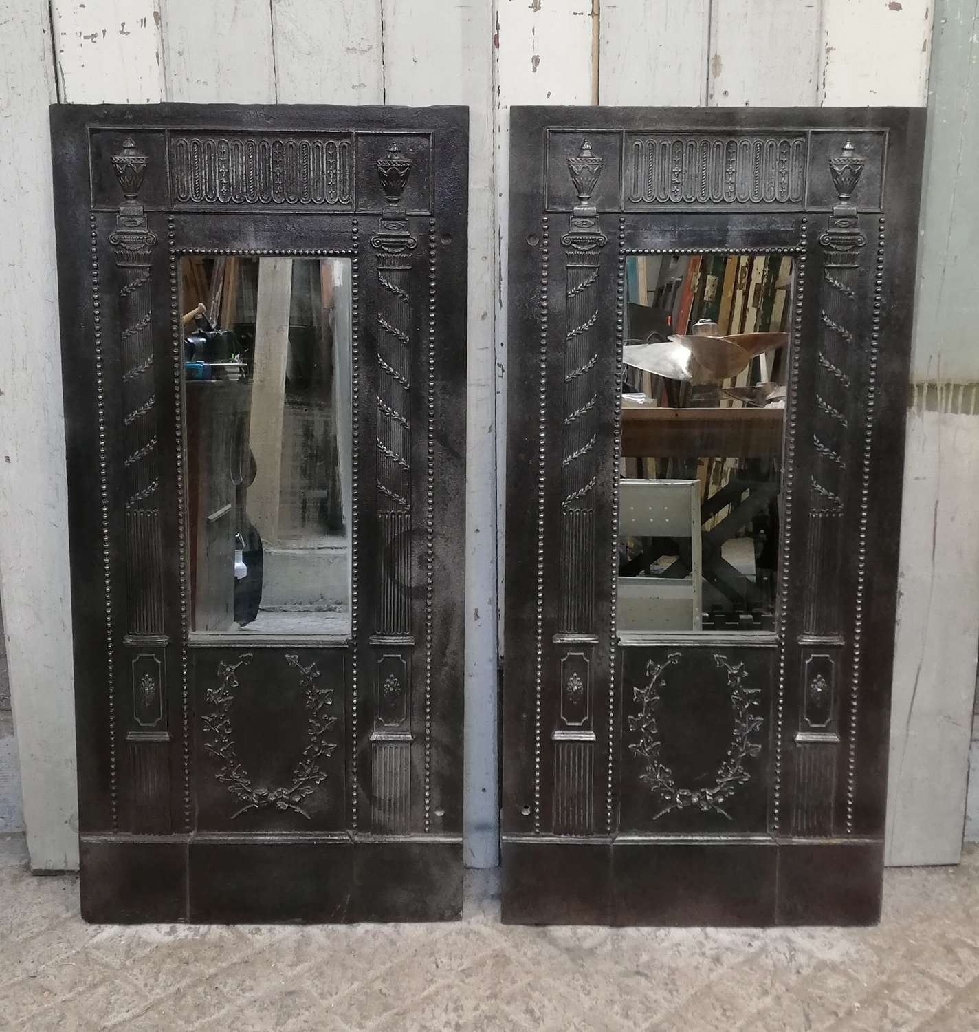 M1341 BEAUTIFUL CAST IRON PANEL MIRROR - 2 AVAILABLE SOLD SEPERATELY