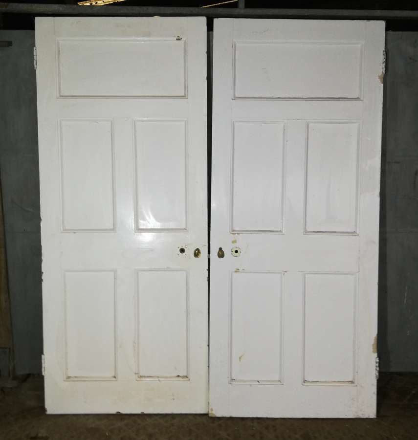DP0279 TWO RECLAIMED ANTIQUE PINE DOORS FOR USE AS A PAIR
