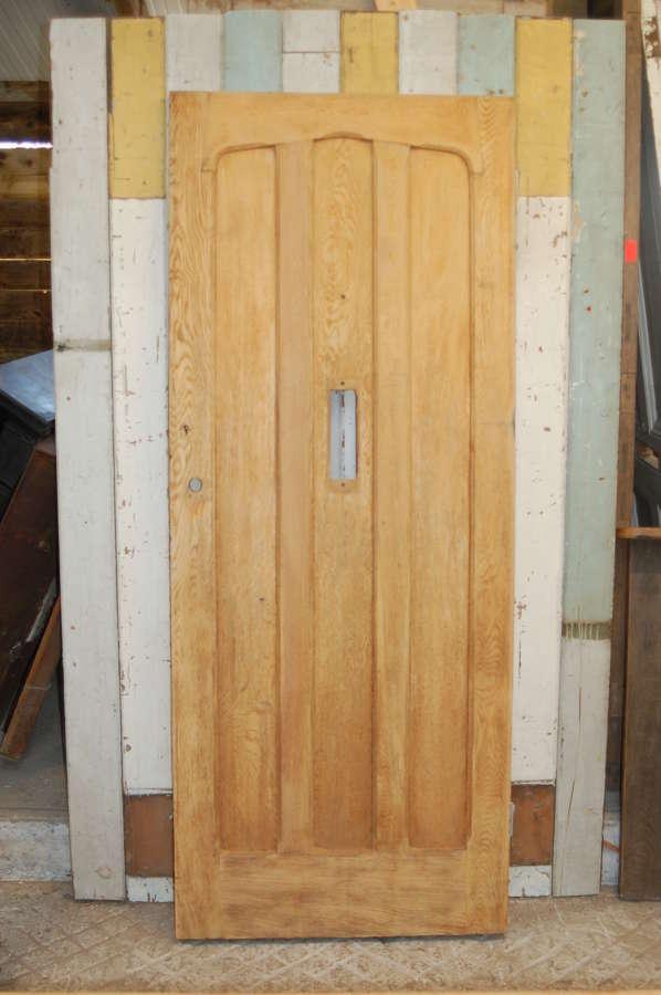 DE0828 A RECLAIMED BARE OAK GOTHIC STYLE FRONT DOOR