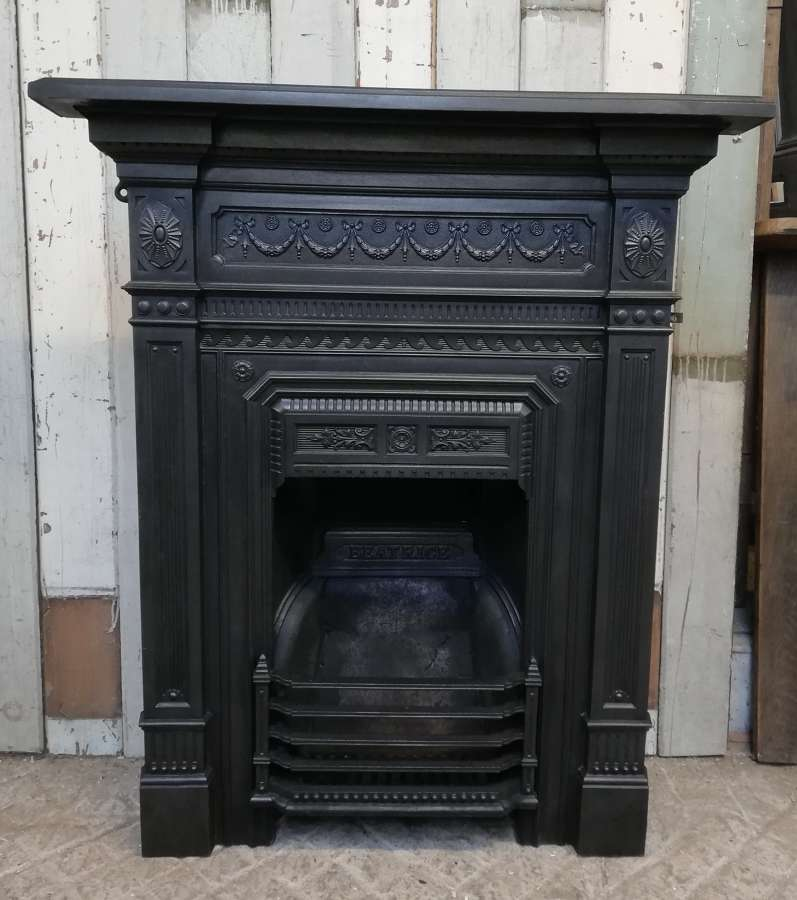 FC0071 A VERY ATTRACTIVE LATE VICTORIAN CAST IRON COMBINATION FIRE