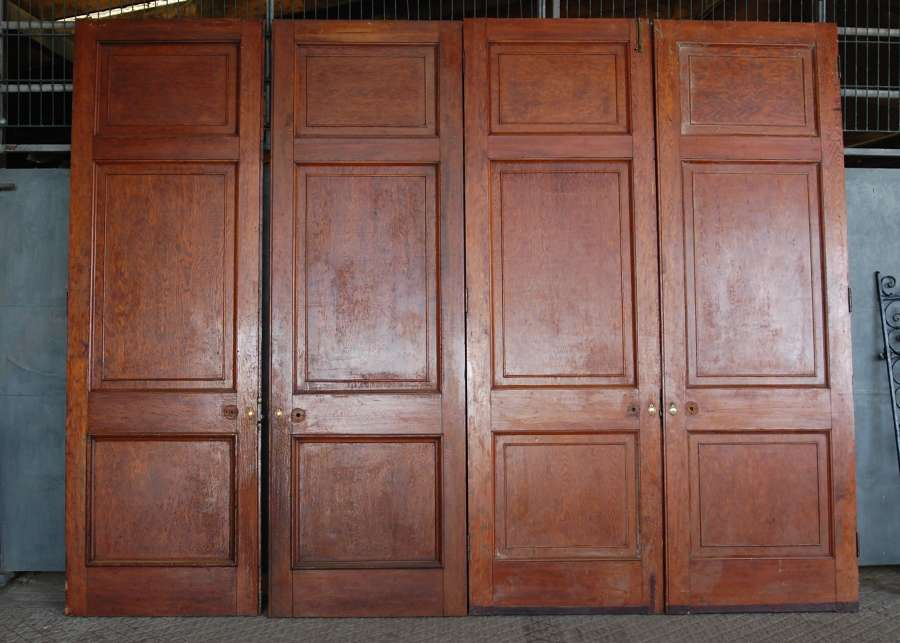 DP0282 TWO PAIRS OF VERY LARGE EDWARDIAN PITCH PINE INTERNAL DOORS