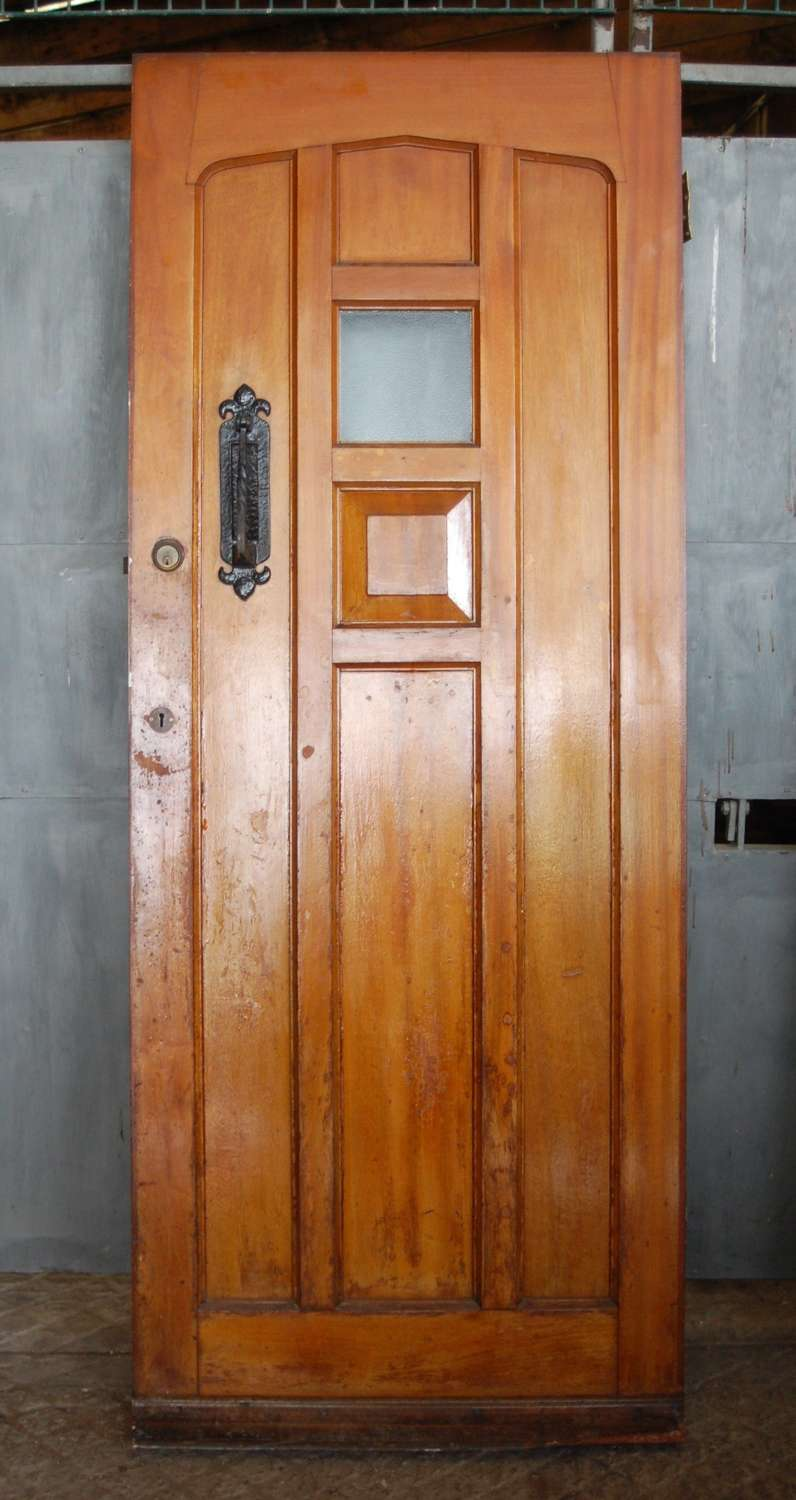 DE0835 A RECLAIMED MAHOGANY GOTHIC STYLE FRONT DOOR