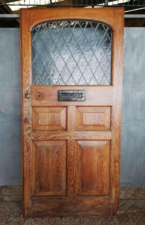 DE0834 A VERY WIDE SOLID OAK ARTS AND CRAFTS FRONT DOOR