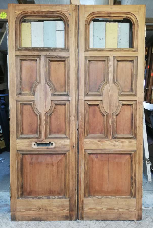 DP0283 PAIR OF VERY TALL ORNATE EXTERNAL / INTERNAL DOORS FOR GLAZING