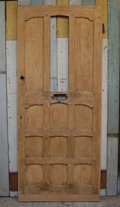 DE0840 A RECLAIMED BARE OAK ARTS AND CRAFTS FRONT DOOR