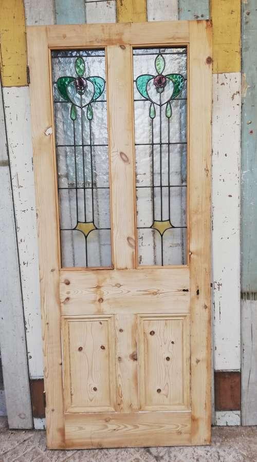 DE0842 A RECLAIMED VICTORIAN PINE STAINED GLASS INNER FRONT DOOR