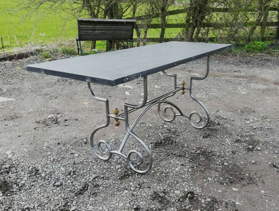 M1366 RECLAIMED SLATE TOPPED TABLE WITH ROCOCO STYLE METAL BASE