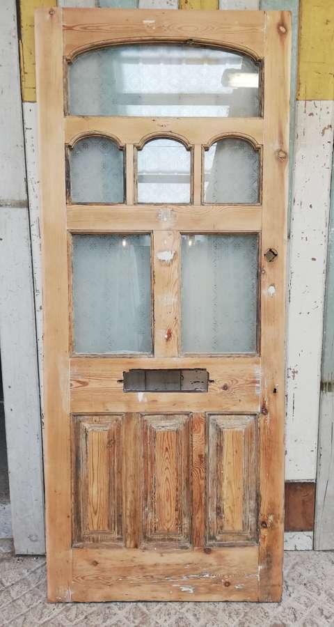 DE0845 BEAUTIFUL VICTORIAN FRONT DOOR WITH ETCHED GLASS PANELS