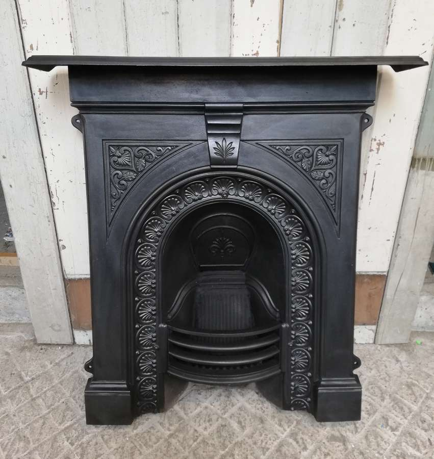 FC0078 AN ATTRACTIVE LATE VICTORIAN ANTIQUE CAST IRON COMBINATION FIRE