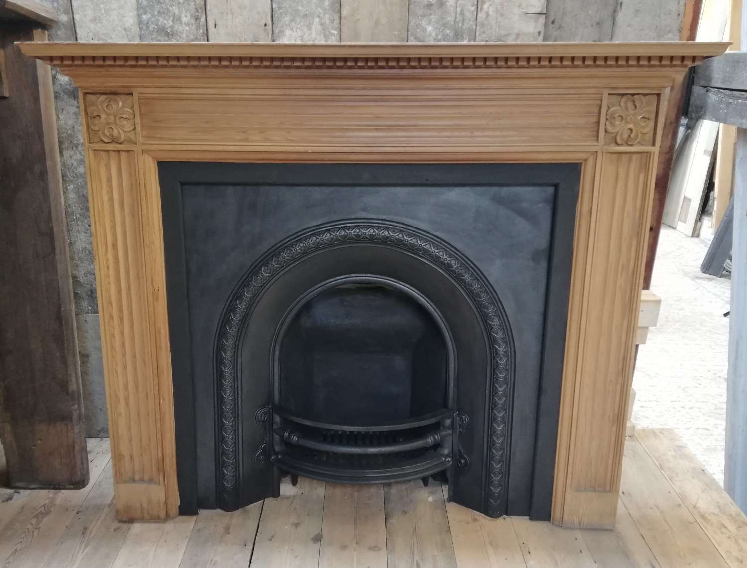 FC0077 LARGE RECLAIMED CARVED PINE FIRE SURROUND AND CAST IRON INSERT