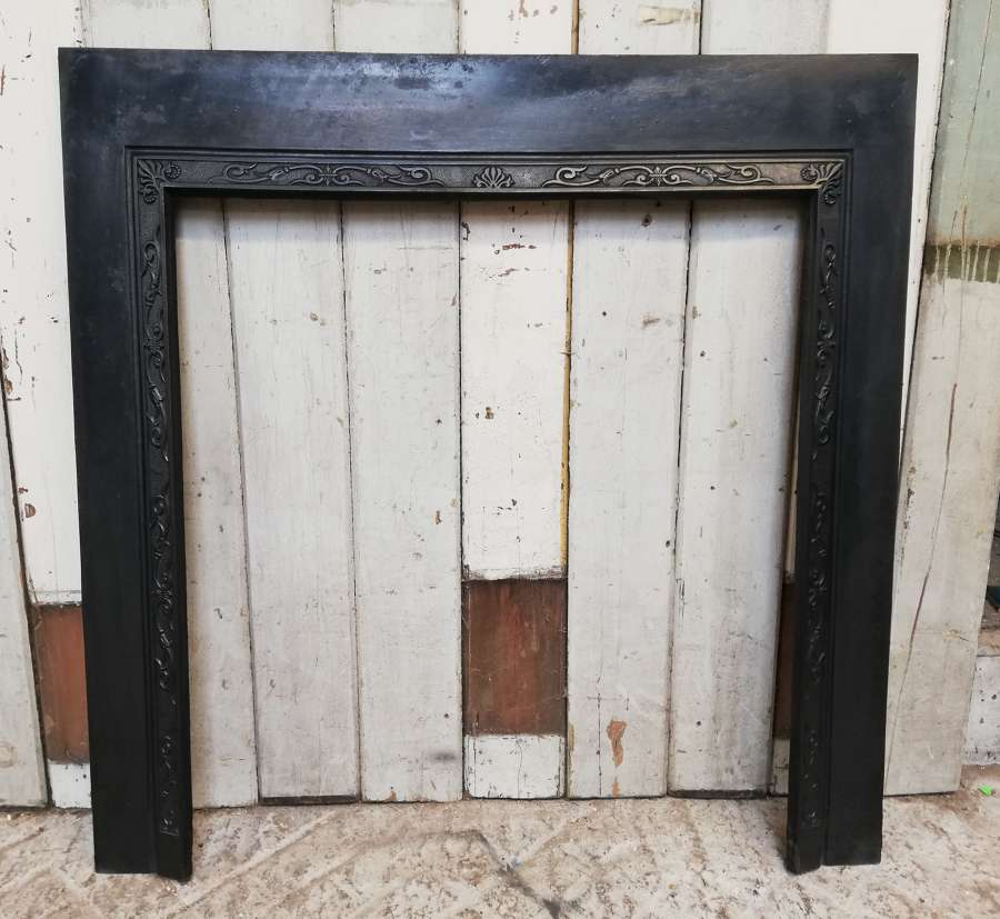 FT0019 ATTRACTIVE ANTIQUE CAST IRON FIRE TRIM FOR WOODBURNER OR BASKET