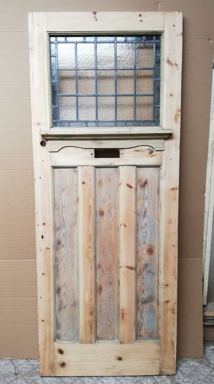 DE0856 EDWARDIAN PINE FRONT DOOR WITH STAINED GLASS PANEL