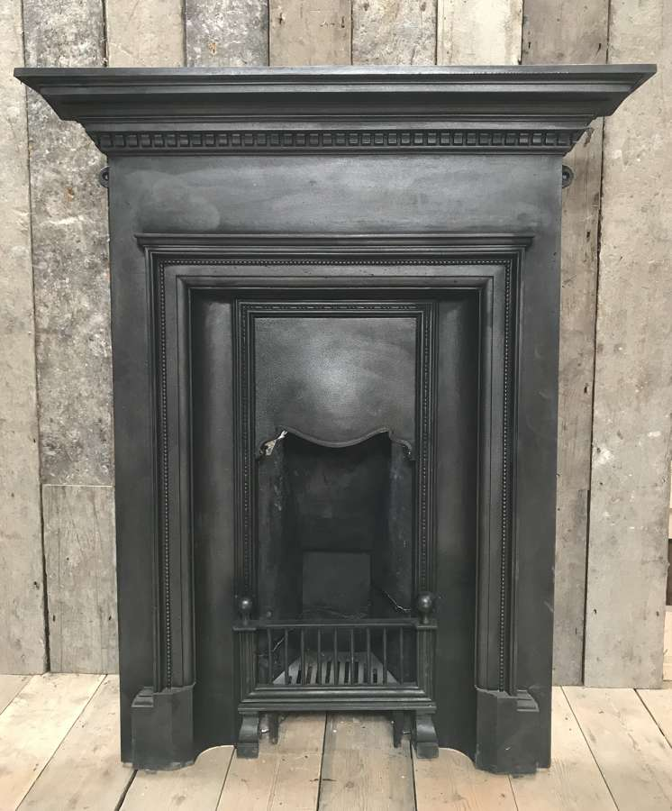 FC0086 RECLAIMED LATE VICTORIAN CAST IRON BEDROOM COMBINATION FIRE