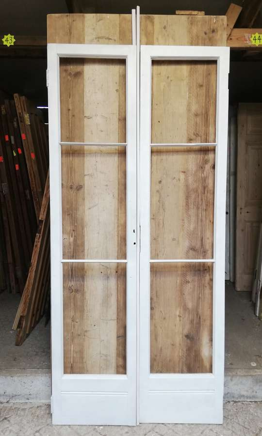 DP0285 PAIR OF RECLAIMED VICTORIAN PINE FRENCH DOORS READY FOR GLAZING