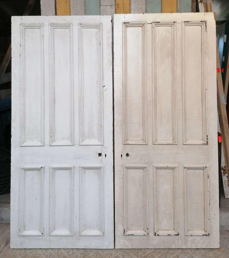DP0288 A PAIR OF RECLAIMED VICTORIAN 6 PANEL PINE DOORS